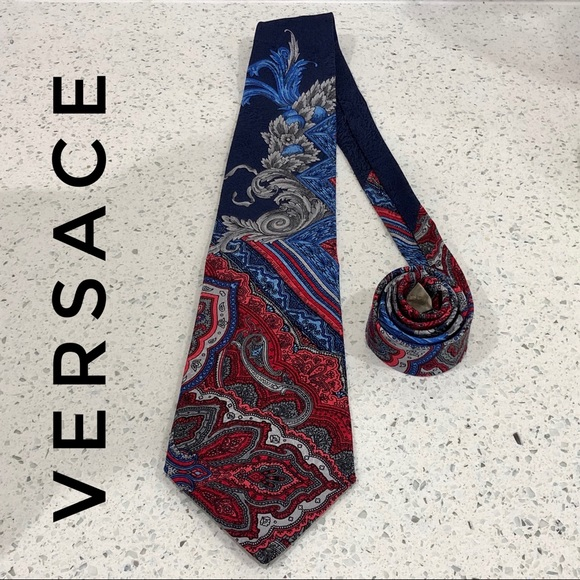 113ef8e6 Versace Paisley Red Blue Floral Silk Tie EUC